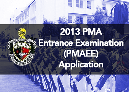 2013 PMA Entrance Examination PMAEE Application 2013 PMA Entrance Examination (PMAEE) Requirements
